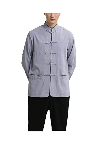 CHLXI Taiji Cinese di Lino Tang Vestito da Uomo a Maniche Lunghe Vestito di  Mezza età Giallo Grigio Rosso Blu Scuro  Amazon.it  Abbigliamento c19aede35ac