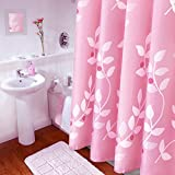 Pink Shower Curtain BAIHT HOME Pink Leaves Decor Soft Fabric Shower Curtain Mildew-Free Water-Repellent Eco-Friendly Cute Polyester Fabric Bath Curtains, 72