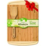 PowerLix Best Organic Bamboo Cutting Board - Extra Large and Thick (45.5 30.5 1.9cm) Wood Cutting Board, Antimicrobial Kitchen Chopping Board with Drip Groove - FDA Approved - Perfect Gift