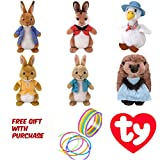 jelly beanie - TY BEANIE Regular Plush - SETS / VARIATIONFREE GIFT (NEON JELLY BRACELET) BY ADD&SHIP (TY (Set of 6) - Peter Rabbit, Flopsy, Mopsy, Cotton Tail, Mrs. Tiggy Winkle & Jemima Puddle Duck)