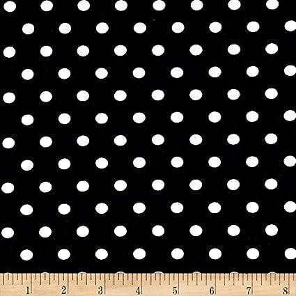 6b3113b245b Amazon.com: Robert Kaufman Laguna Stretch Jersey Knit Pimatex Basics Polka  Dot/White Fabric by The Yard, Black