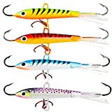 #3: Burning Shark Ice Fishing Lures With 3 Sharp Hooks Winter Lifelike Fishing Baits Ice Jigging Lures Kit for Bass Walleye (4 Pcs,4 Colors)