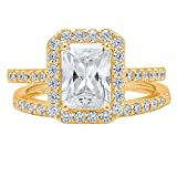 14k Solid yellow Gold 2ct Emerald Brilliant Cut Solitaire Pave Halo Bridal Anniversary Engagement Wedding Promise Ring Band Set for Women, 8.5