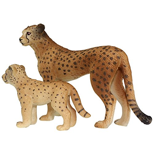 FUNSHOWCASE African Jungle Animals Toy Cheetahs Figure Realistic Plastic Figurine Playset Lot ()