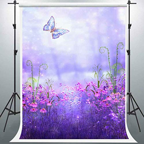 EARVO 5x7ft Butterfly Backdrop Purple Flowers Wonderland Photography Background Baby Shower Spring Outing Cotton Backdrop Photo Booth Props EA022