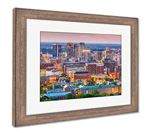 (Ashley Framed Prints Birmingham, Alabama, USA Downtown Skyline from Above at Dusk, Wall Art Home Decoration, Color, 26x30 (Frame Size), Rustic Barn Wood Frame, AG32675609)