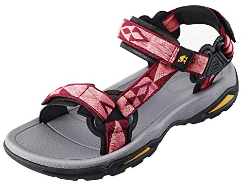 CAMEL CROWN Comfortable Outdoor Water Hiking Sandals for Women with Arch Support Open-Toe Waterproof Women Sport Beach Sandals Red (Best Of Camel Toes)