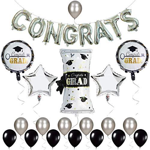 Cszlove Graduation Balloons Black and Silver, 16'' Congrats Balloon and 18'' Sliver Congrats Grad Mylar Balloons for Graduation Party Supplies and Graduation Decorations