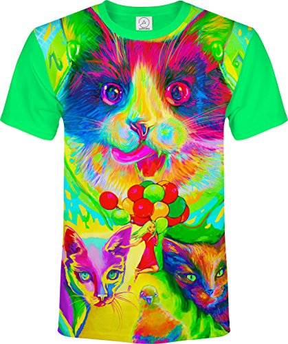 Cats Baloons Little Women Bird Fly Tounge Mountain Air House Pond Eyes Blacklight UV Neon Fluorescent T-Shirt, Size X Large