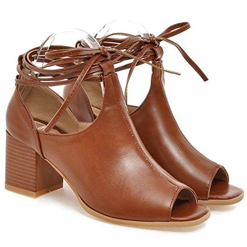 Coolcept Sandalias De Tacón Media Mujer Con Tacón Alto Peep Toe Gladiador Con Cordones Zapatos De Tacón Alto De Verano Marrón