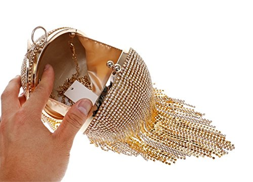 Bag Bag Yellow Evening Round Evening Ladies Crystal Diamond Dress Bag XS Evening Gold Color Encrusted Ball Size aTvfpnpIq