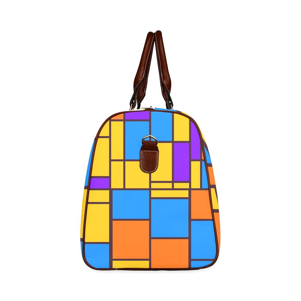 Shapes In Retro Colors Custom Waterproof Travel Tote Bag Duffel Bag Crossbody Luggage handbag