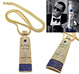 """Mens Iced Out Gold Ciroc Vodka Bottle Pendant 4mm 36"""" Franco Chain Necklace"""