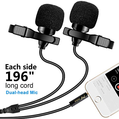 Premium 196 Dual-head Lavalier Microphone, Professional Lapel Clip-on Omnidirectional Condenser Mic for Apple iPhone,Android,PC,Recording Youtube,Interview,Video Conference,Podcast - FREE BONUS