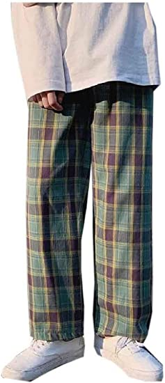 Beeatree メンズ プラス サイズ ストレート コージー リラックス フィット クラシック プレイド カジュアル パンツ