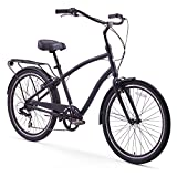 Cheap sixthreezero EVRYjourney Men's 7-Speed Hybrid Cruiser Bicycle, Matte Black w/ Black Seat/Grips