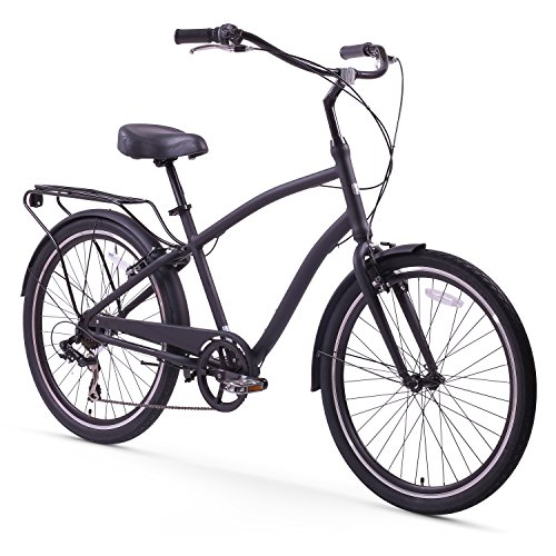 sixthreezero EVRYjourney Men's 7-Speed Hybrid Cruiser Bicycle, Matte Black w/ Black Seat/Grips