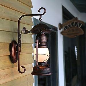 HJZY Antigua lámpara de Queroseno, óxido Rojo, Metal, lámpara de Pared, óxido clásico, Retro, Industrial, luz de la Pared, Apliques, Decorado, Restaurante, Bar, cafetería, Isla del Pasillo, E27
