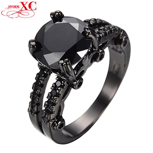 AYT Round Rhinestone Ring Black Gold Filled Cubic Zircon Bridal Wedding Engagement Rings For Couple Female Male Anillo 6.0 - Costumes For Less Promo