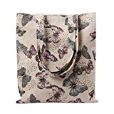 (US) Caixia Women's Cotton Butterfly Print Canvas Tote Shopping Bag Light Brown