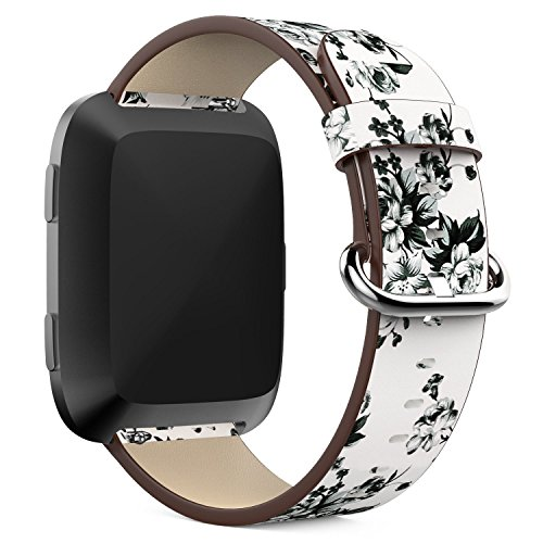 Btchoice 22Mm Peony Pattern Genuine Leather New Replacement Wristbands Watch Strap Band Bracelet For Fitbit Versa Tracker  C