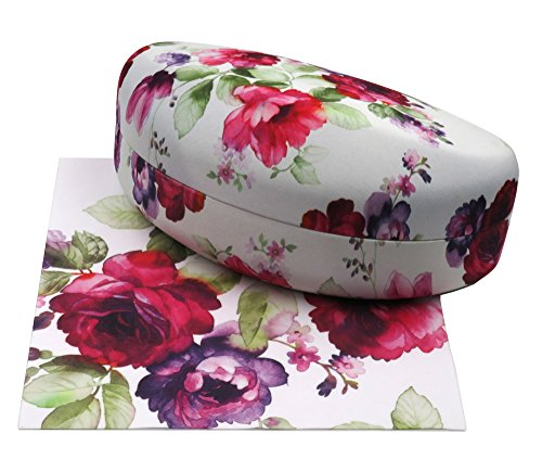 Rachel Rowberry Floral Large Sunglasses Case with eyeglass cleaning cloth in a unique Microfiber ultra soft finish | for Large frames (AS179 Cranberry - Eyeglass Hard Cases