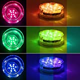 Submersible LED Lights,Halloween Decoration Lighting RGB Multi Color Remote Controlled Waterproof LED Underwater Aqua Lights Tea Lights for Pond Party Wedding Vase Base Hallowmas Christmas(4PCS)