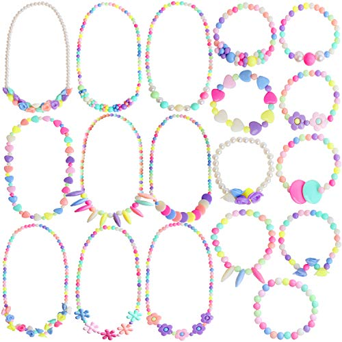 Outee 18 Pcs Toddler Costume Jewelry Toddler Princess Jewelry Girls Play Princess Necklace Bracelets Set Dress Up Pretend Play Jewelry Kit Party Favors]()