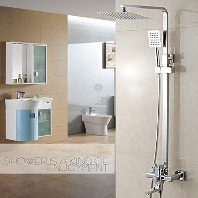 LightInTheBoxBathroom Luxury Rain Mixer Shower Combo Set Wall Mounted Rainfall Shower Head System Polished Chrome