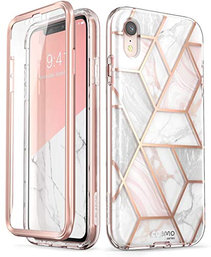 i-Blason Cosmo Full-Body Glitter Bumper Case for iPhone XR 2018 Release, Marble, 6.1