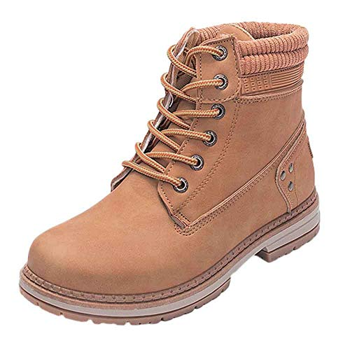 IAMUP Women Solid Lace Up Boots Casual Ankle Boots Round Toe Shoes Student Outdoor Fashion Snow Boots]()