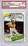 Rickey Henderson Rookie Oakland Athletics PSA/DNA Certified Authentic Autograph - 1980 Topps (Autographed Baseball Cards)