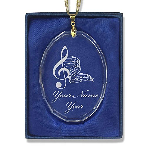 Oval Crystal Christmas Ornament - Musical Notes - Personalized Engraving (Musical Note Ornaments)