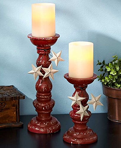 Set-of-2-Red-Star-Pillar-Candleholders