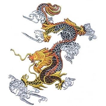 Stoff chinesische Drachen schwarz weiß 27,9 cm Bügelbild DIY Gothic ...