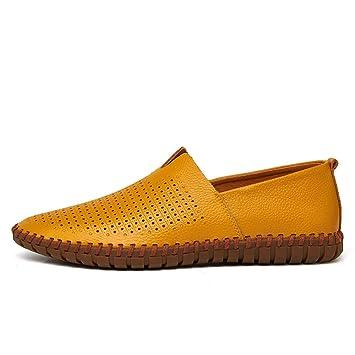 Jiuyue-shoes Mocasines con Ruedas para Hombres, Mocasines con Suela de Cuero Suave Ligero y Transpirable (Color : Hollow Yellow, tamaño : 50 EU): Amazon.es: ...