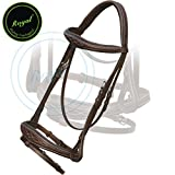 Royal Fancy Square Raised Anatomic Bridle with PP Rubber Reins./ Vegetable Tanned Leather./ Stainless Steel Buckles.