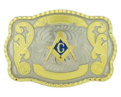 Ride Away Masonic Compass Western Large Rodeo Cowboy Two Tone Gold Color Belt Buckle
