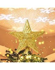 Solpex Decoración para árbol de Navidad iluminada con proyector de copo de nieve LED hueco 3D ajustable, estrella dorada con purpurina para decoración de árbol de Navidad en interiores (amarillo dorado)