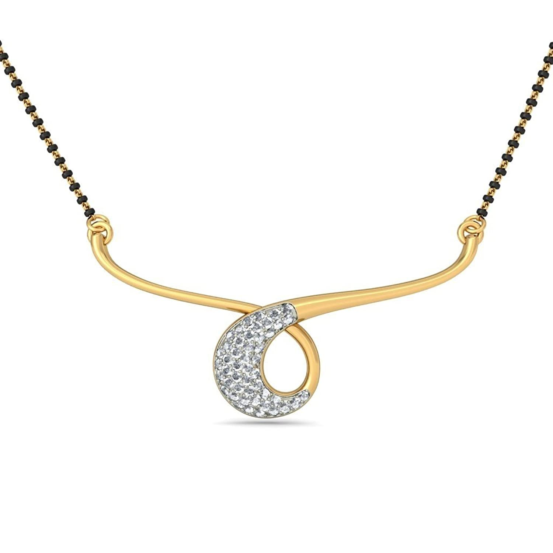 14K Amarillo Oro 0,24quilates white-diamond (IJ | si) Mangalsutra