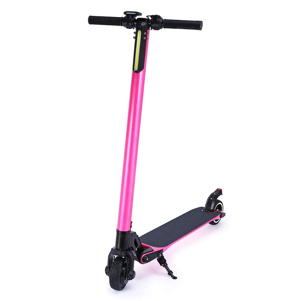 XINHUANG Electric Scooter, Carbon Fiber, 250 watt Motor, Round Instrument, only 7.7 kg, e-Scooter, e-Scooter, Product Video, Pink (Capacity : 10.4AH) by XINHUANG