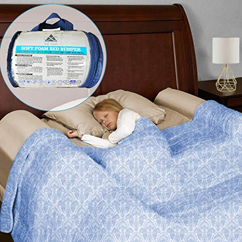 Foam Bed Bumper Toddler Bedrail - Safety Bedside Sleep Guard Side Pillow Pad | Water-Resistant, Non-Slip, Machine Washable Cover | Babies Children Kids Adults Seniors | Home, Hotel, Travel, Portable from INEX Life