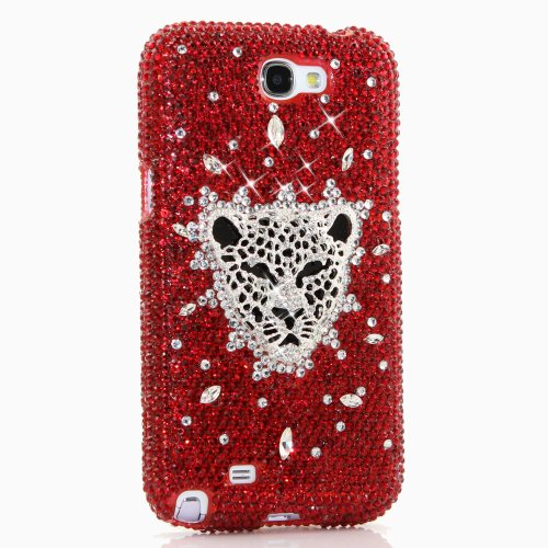 Samsung Note 2 Luxury 3D Bling Case - Elegant Red Royal Leopard Jaguar Art Design - Swarovski Crystal Diamond Sparkle Girly Protective Cover Faceplate (100% Handcrafted By Star33mall)