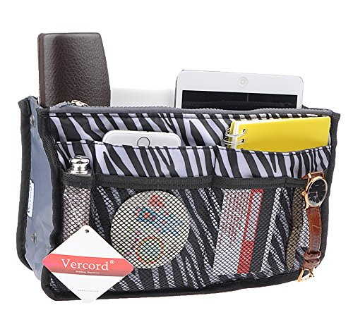 Purse Organizer,Insert Handbag Organizer Bag in Bag (13 Pockets 15 Colors 3 Size) (M, zebra stripes) -