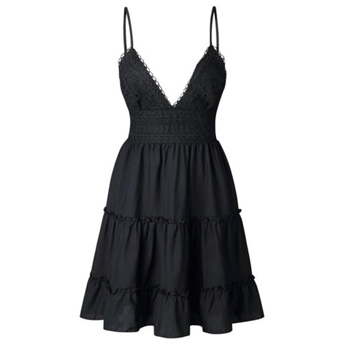 198f0495d2 Guyay Women V Neck Sleeveless Spaghetti Strap Tie up Back Short Dress  Bowknot Sexy Lace Swing