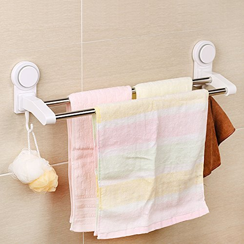 ASSIS Double Towel Bar, 2-Tie Power Lock Suction Towel Bar Stainless Steel Wall Mounted Towel Rack with - Towel Bar Double Hinge