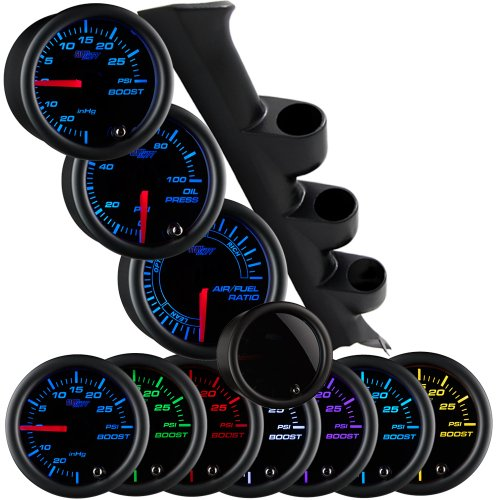 87-93 Ford Mustang Triple Package w/ Tinted 7 Color Boost/Vacuum, Air/Fuel Ratio & Oil Pressure Gauges