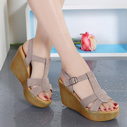 and High black summer Beige heeled PENGFEI L fashion Female sandals Non bottom EU36 slippers Color Thick Beige Size UK4 slip 230mm Black S7w7Cqd