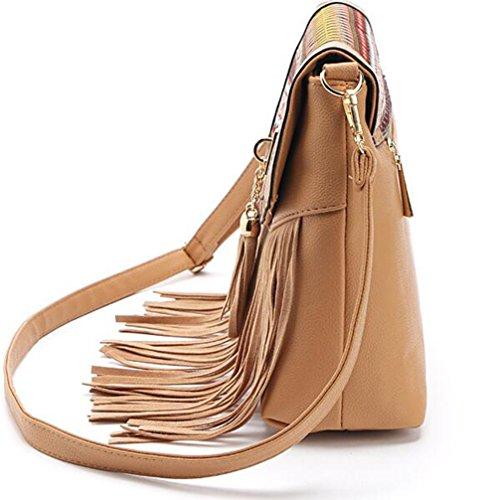 Woman Girls Brown Teen FXTXYMX Fringe and Purse Tassel Bag Handbag Crossbody for Light Shoulder Bag Bucket Hobo Pa6PxwqOAr