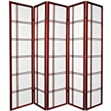 5 panel divider - 5 Panel Double Cross Room Divider - Cherry